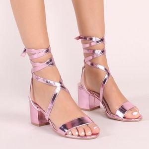 361bea118d7 Sophie heeled sandals in metallic pink